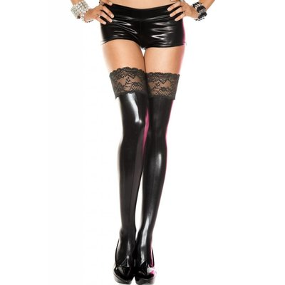 Silicone Wet-Look Lace Top Thigh Highs