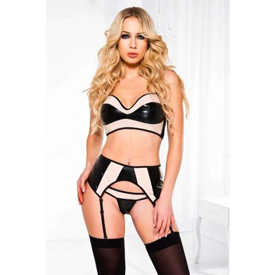 Two-Tone Wet Look Top w/ High Waist Garterbelt + Thong, 3Pc