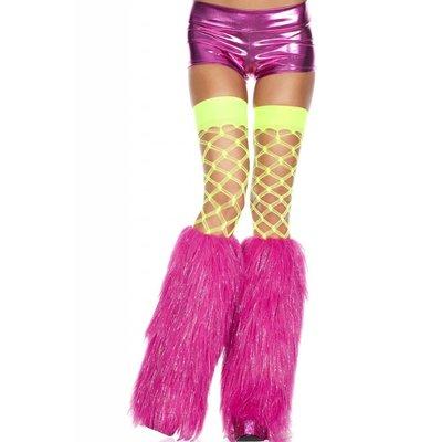 Music Legs Furry Lurex Hot Pink Fluffies