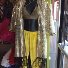 Get Crooked Sequin Kimono, Pale Holo Gold O/S