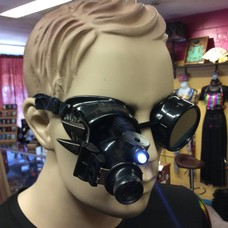 Black Goggles with Extended Lighted Loupe, Dragon Teeth & Leather (285)