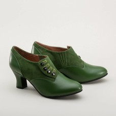 Royal Vintage Greta Retro Side-Button Shoes (Green)