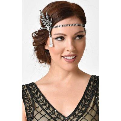 Unique Vintage Silver Rhinestone Feather & Pearl Headband