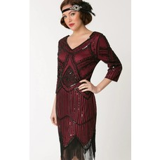 Unique Vintage Noemie Burgundy & Black Evening Dress w/ Sleeves