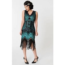 Unique Vintage Veronique Black & Teal Sleeveless Evening Dress