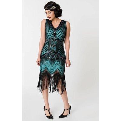 Unique Vintage Veronique Black & Teal Sleeveless Evening Dress