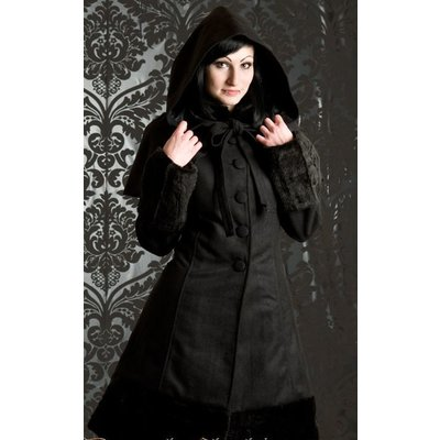 Dracula Clothing Black Winter Wool Coat w/ Hood & Capelet