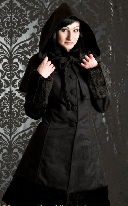 ade28abe2c2 Black Winter Wool Coat w/ Hood & Capelet