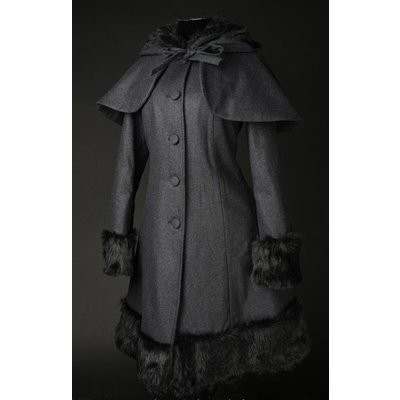 Dracula Clothing Charcoal Winter Wool Coat w/ Hood & Capelet
