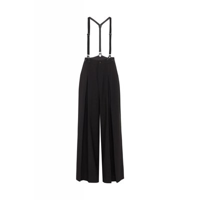 Voodoo Vixen Shelley Wide Pleated Trousers w/ Suspenders - Black