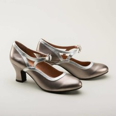 Royal Vintage Roxy 1920's Mary Jane Flapper Shoes, Silver