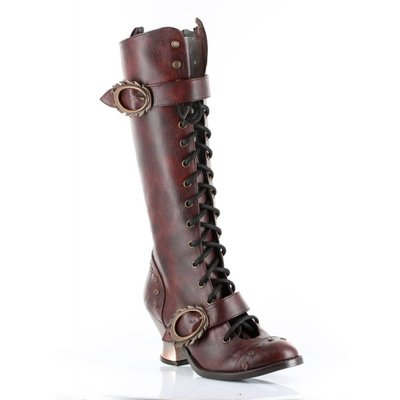 Hades Footwear Vintage Laced Boot, Burgundy Size 8