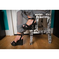 TUK Black Patent Quilted Sandal Wedge