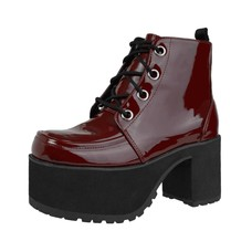TUK Burgundy Patent Lace Up Nosebleed Bootie