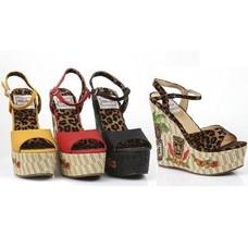 Ellie Shoes Keke 4.5 in. Wedge Sandal w/ Tiki Embroidery