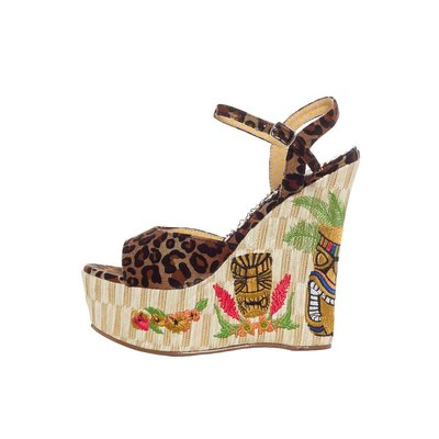 Ellie Shoes Keke 4.5 in. Wedge Sandal w/ Tiki Embroidery
