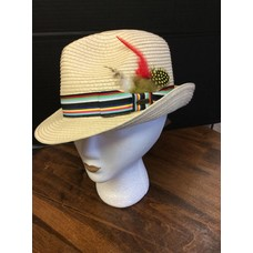 DeLux Hats Solstice Nat Stitched Raffia w/ Feathers, Multi Band