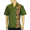 Manele Green w/ Side Border Orchids Cotton Shirt