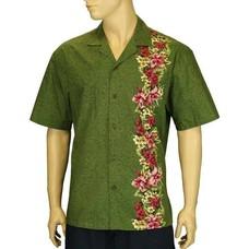 Manele Green w/ Side Border Orchids Cotton Shirt