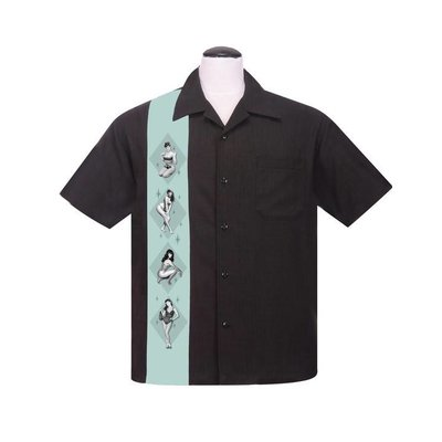 Steady Bettie Page Pinup Panel Button Up Shirt Black