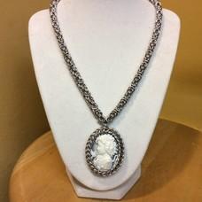 Girl Cameo w/ Silver Byzantine Chain