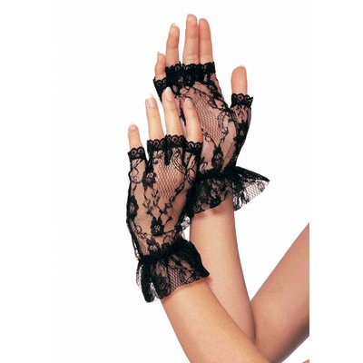 Leg Avenue Black Lace With Wrist Ruffle Fingerless Gloves