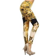 Yelete Yellow Eye (Klimt) Printed Leggings - One Size