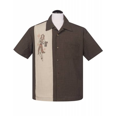 Steady Mai Tai Mirage Button Up Shirt, Coffee