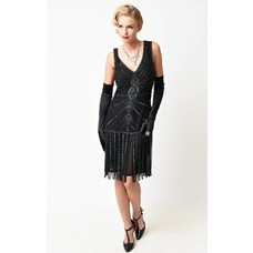Unique Vintage Aelita Deco Black Beaded Fringe Flapper Dress