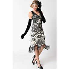 Unique Vintage Vienna Ivory Net & Black Beaded Mesh Fringe Flapper Dress
