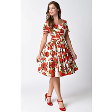 Roman Holiday White & Red Short-Sleeved Swing Dress - Subspace
