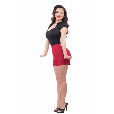 Steady Bombshell High Waist Shorts - Red