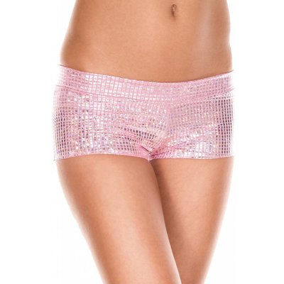 Metallic Pink Square Pattern Booty Shorts