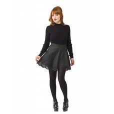Smak Parlour Black Faux Leather Flare Skirt w/ Laser Cutouts
