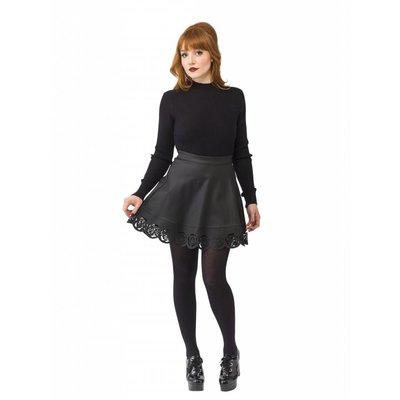 Smak Parlour Black Faux Leather Flare Skirt w/ Laser Cutouts