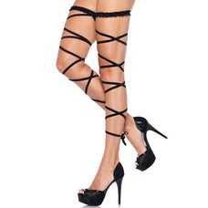 Leg Avenue Black Garter Leg Wraps