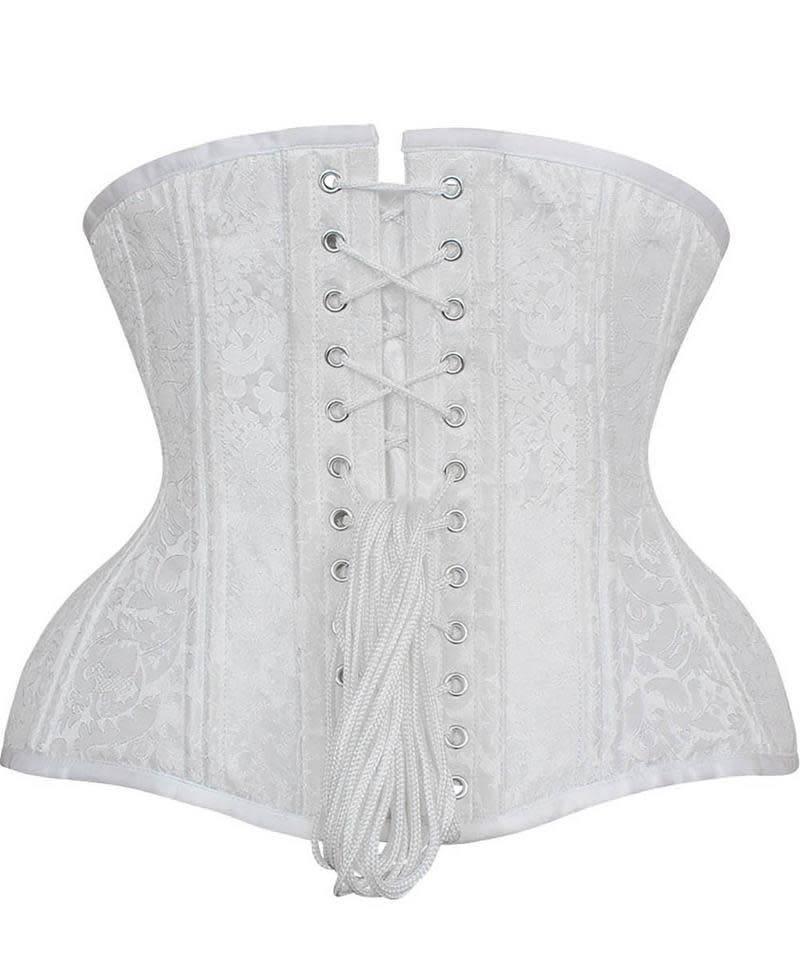 16b61ad162 Vintage Goth White Brocade Underbust Curvy Waist Training Corset
