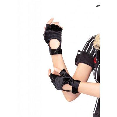 Leg Avenue Fingerless Motorcycle Gloves - Black Satin