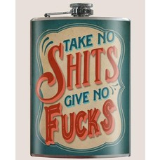Trixie and Milo Take No Shits Flask, 8 oz Stainless Steel