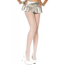 Music Legs Crochet Side Chain Seamless Pantyhose, White
