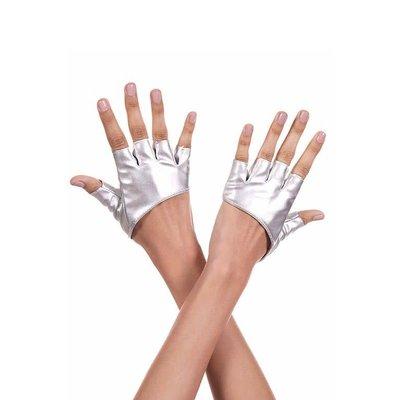 Short Silver Metallic Fingerless Stretch Gloves