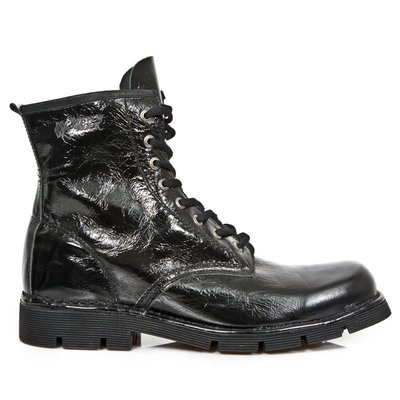 New Rock Shoes Lace-up Arrugado Boots (unlined) Black Patent 46  (Men's 12)