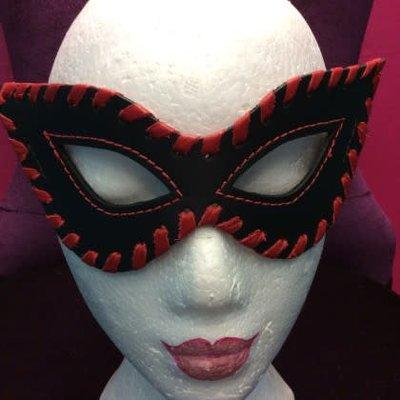 Kookie Edge-Stitched Leather Fetish Mask Black/Red