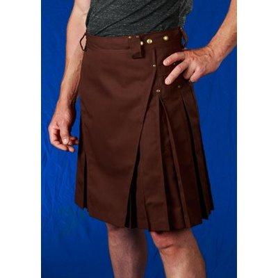 StumpTown Kilts Men's Brown Kilt w/ Antique Brass Rivets
