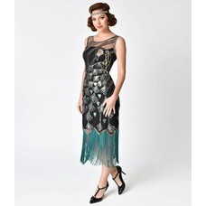 Unique Vintage Antoinette Black Teal Flapper Dress