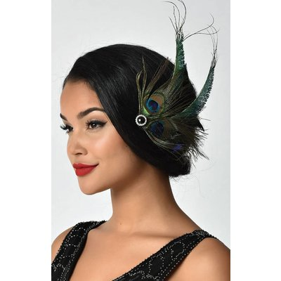 Unique Vintage UV Peacock Feather & Black Veil Hair Clip