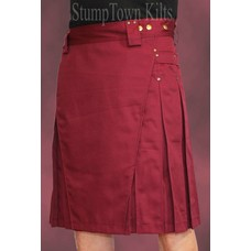 StumpTown Kilts Men's Burgundy Kilt w/Antique Brass Rivets
