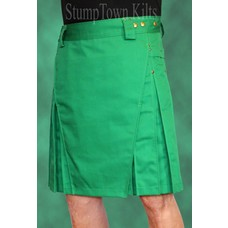 StumpTown Kilts Men's Kelly Green Kilt w/Antique Brass Rivets