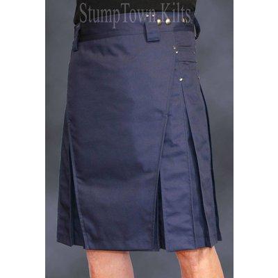 StumpTown Kilts Men's Navy Blue Kilt w/Gunmetal Rivets