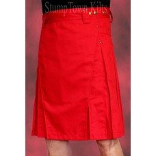 StumpTown Kilts Men's Red Kilt w/Antique Brass Rivets